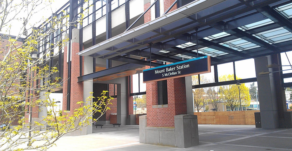 The light rail station is near Seattle apartments