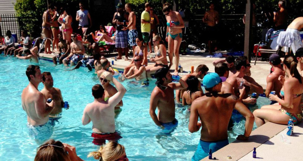 Village green pool party