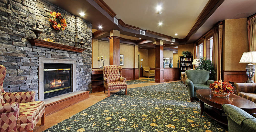 Fireplace at senior living in Kent