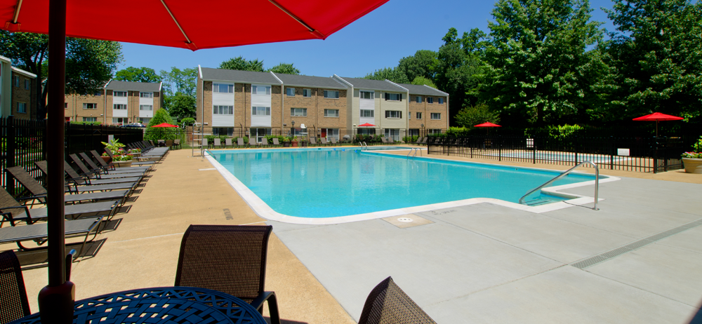Sparkling swimming pool at Falls Church apartments