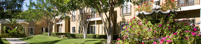 Vibrant landscaping at Anaheim senior living