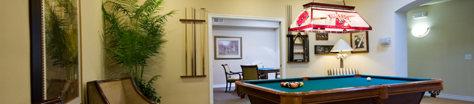 Billiards room at San Diego senior living