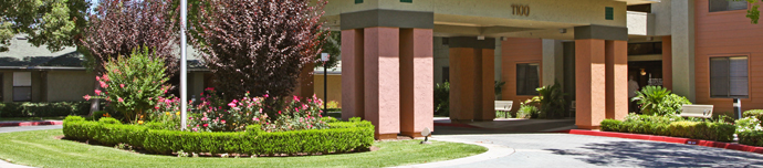 Beautiful exterior of senior living in Fresno