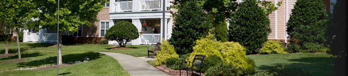 Lush landscape at Cary senior living