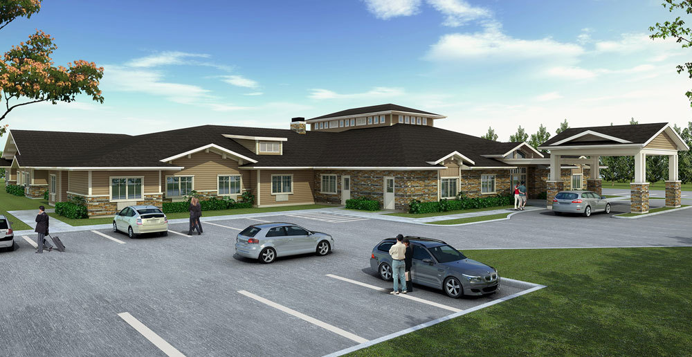 Welcoming entry at senior living community in Yakima