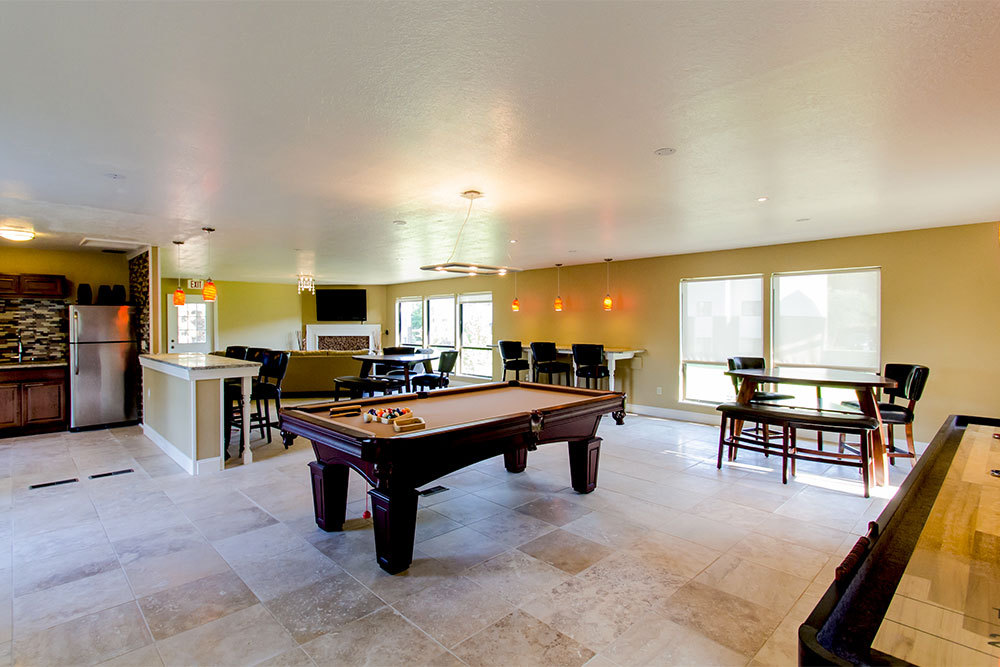 Community Clubhouse and billiards room at apartments in Kentwood