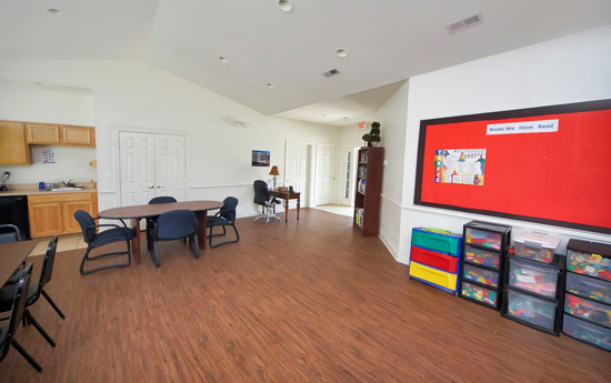Recreation room at Chester apartments