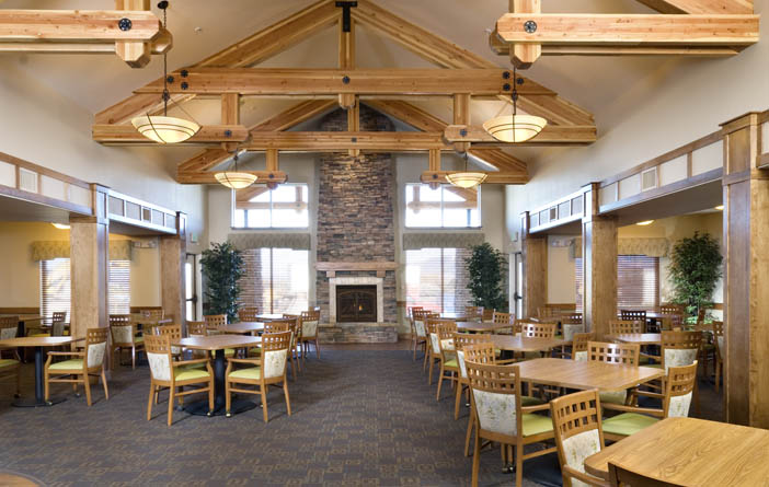 Cabin dining room at senior living in bozeman
