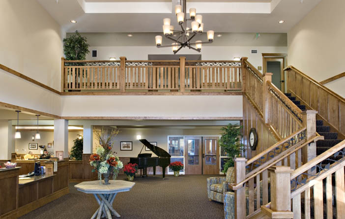 Lobby at bozeman senior living