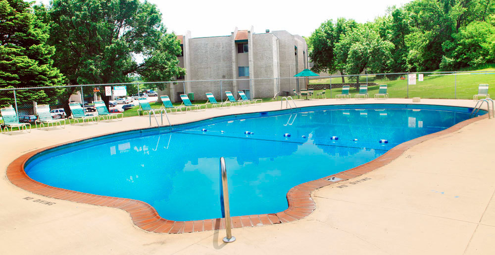 Sparkling pool at apartments in council bluffs