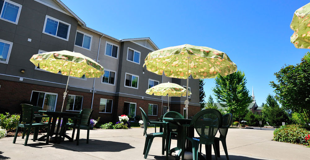 Comfortable patio available for residents at Lakewood senior living community