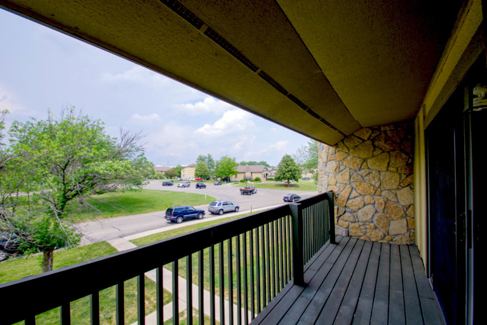 Private balcony at apartments in dayton