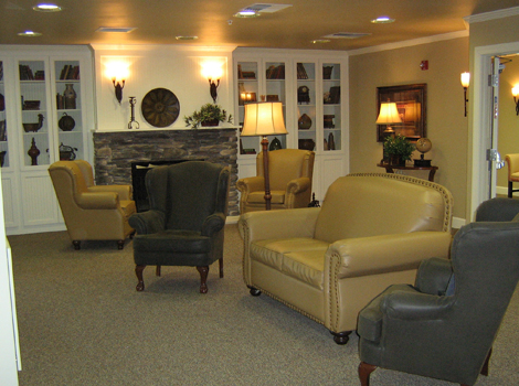 Welcoming lobby at Cedar Park assisted living