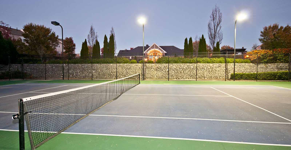 Lighted tennis courts at Duluth apartments GA