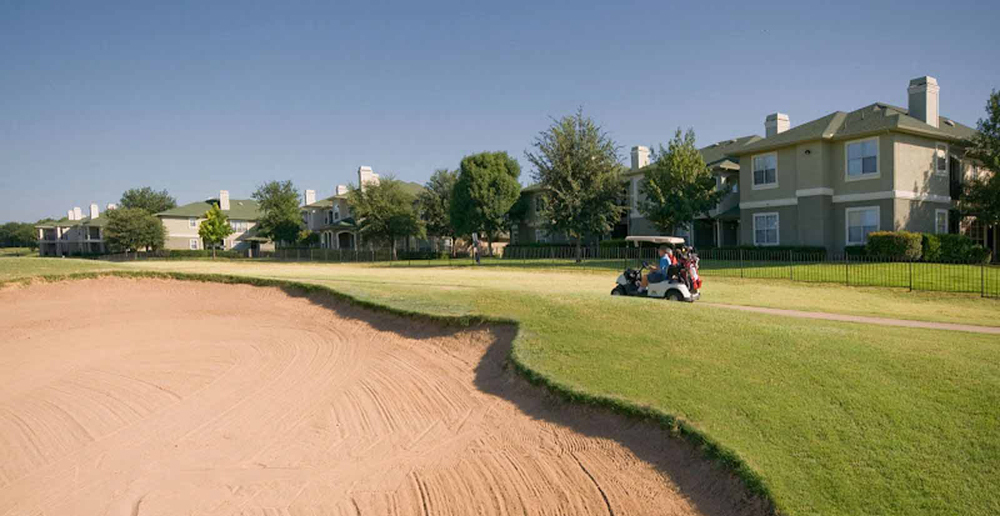 Lush golf course at Plano apartments TX