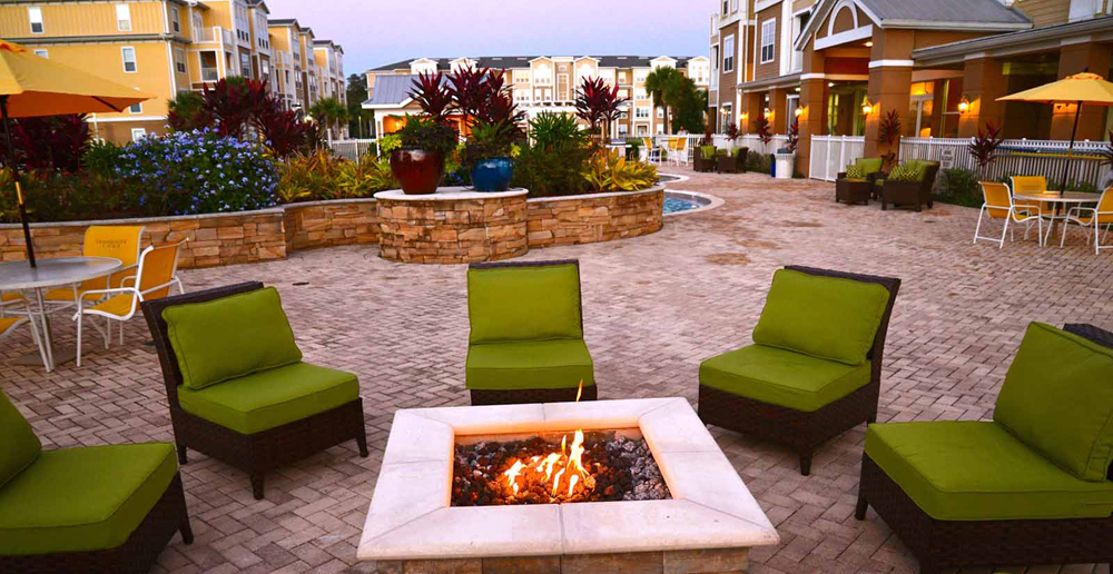 Firepit area at Riverview apartments