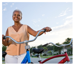 A senior resident in Rockwall TX enjoys a bike ride.