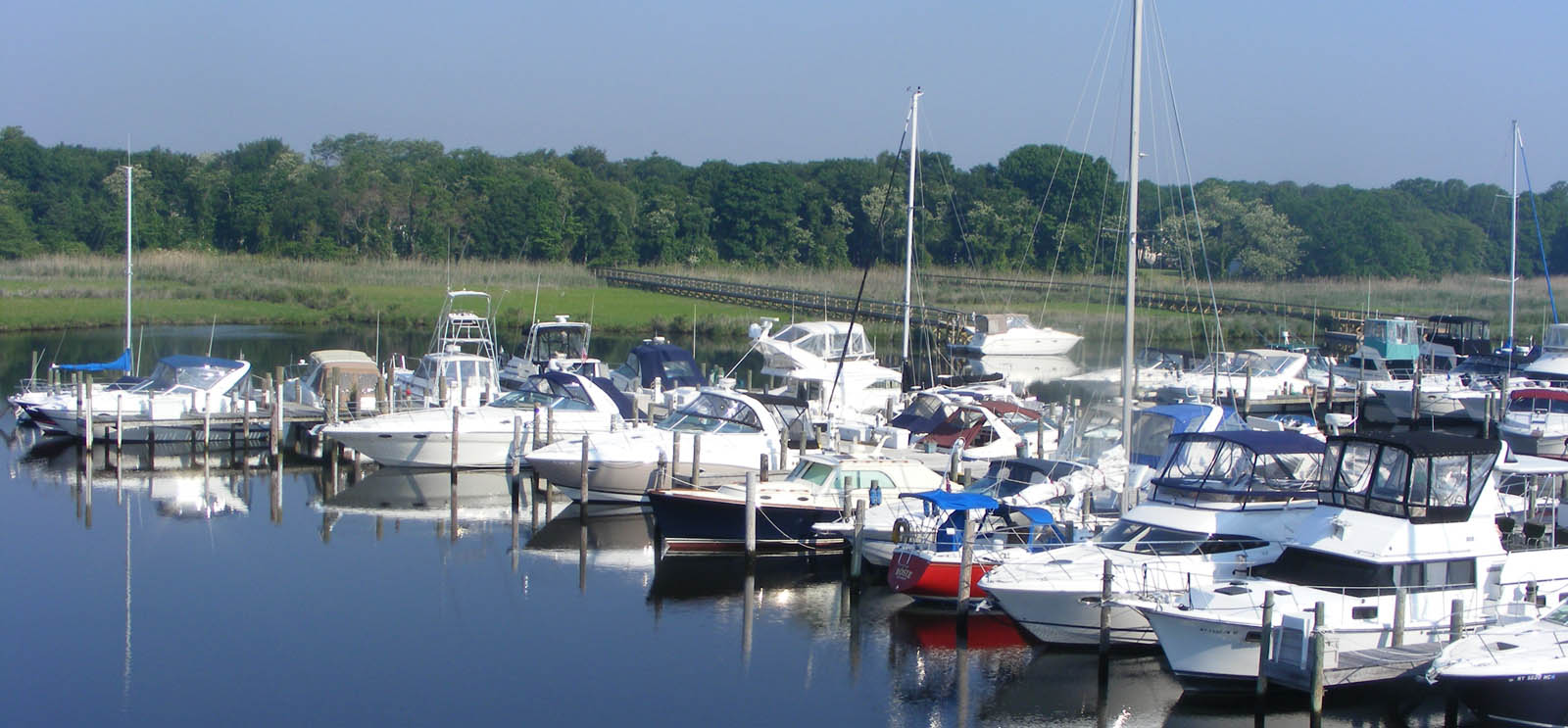 Boats docked at East Patchogue NY Marina