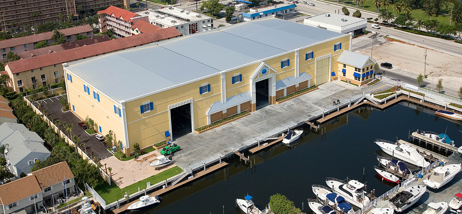 Aerial view of Pompano Beach marina