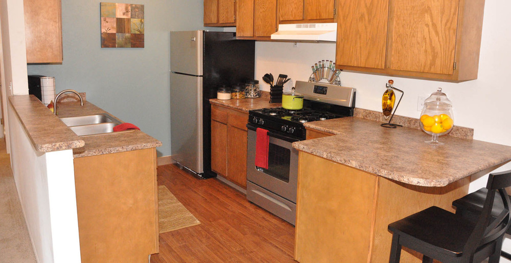 Kitchen view of apartments for rent in Wyoming MI