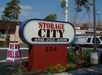 Milpitas self storage entrence sign