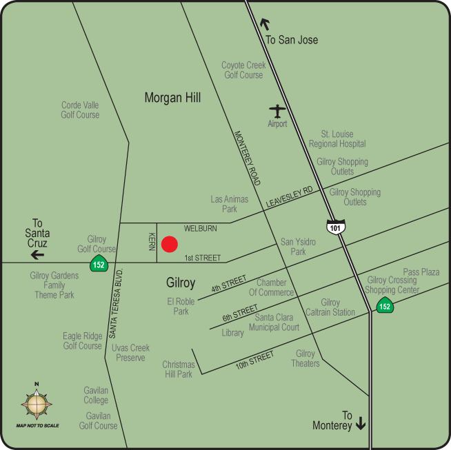 Map of the neighborhood surrounding apartments in Gilroy