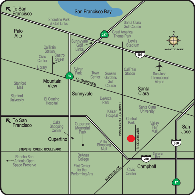 Map of the neighborhood surrounding apartments in Santa Clara
