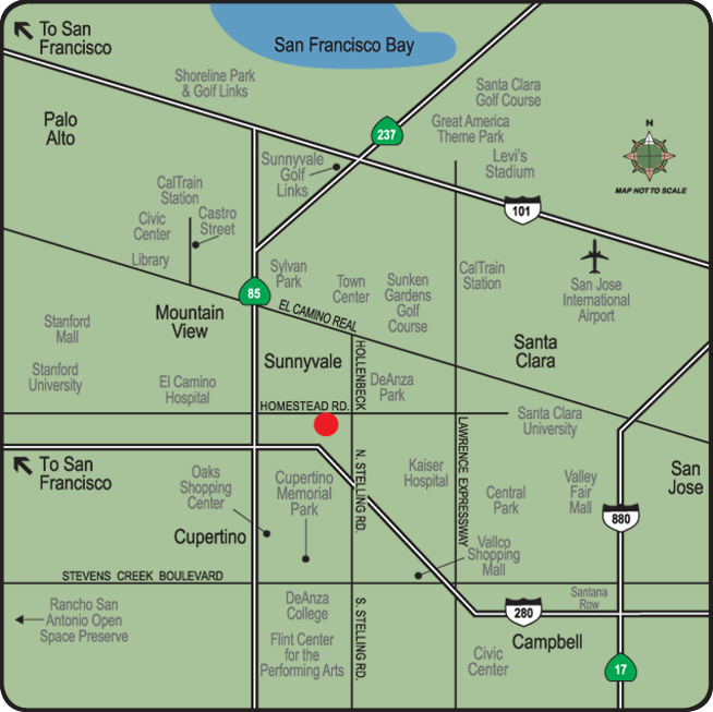 Map of the neighborhood surrounding apartments in Cupertino