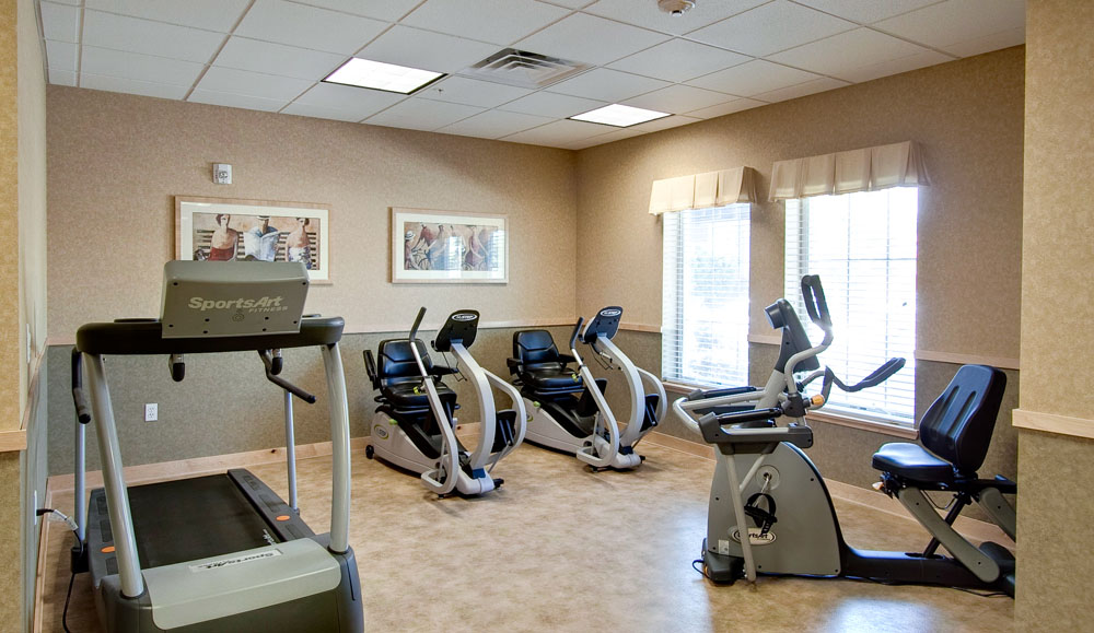 Fitness center at San Jose assisted living