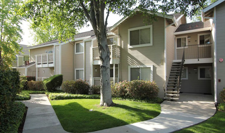 An exterior view of apartments in Gilroy