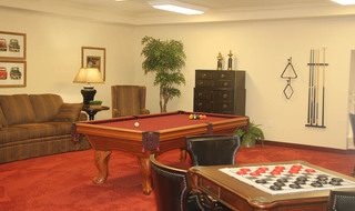Communtity game room at rockwall senior living