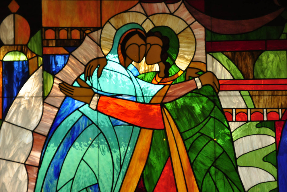 Stained glass window at Tucson senior living