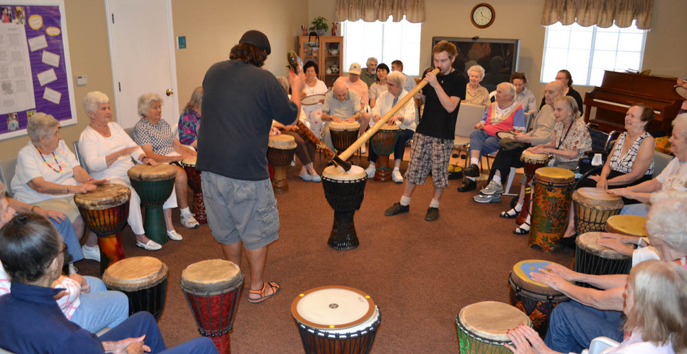 Drumming event at senior living in Mesa