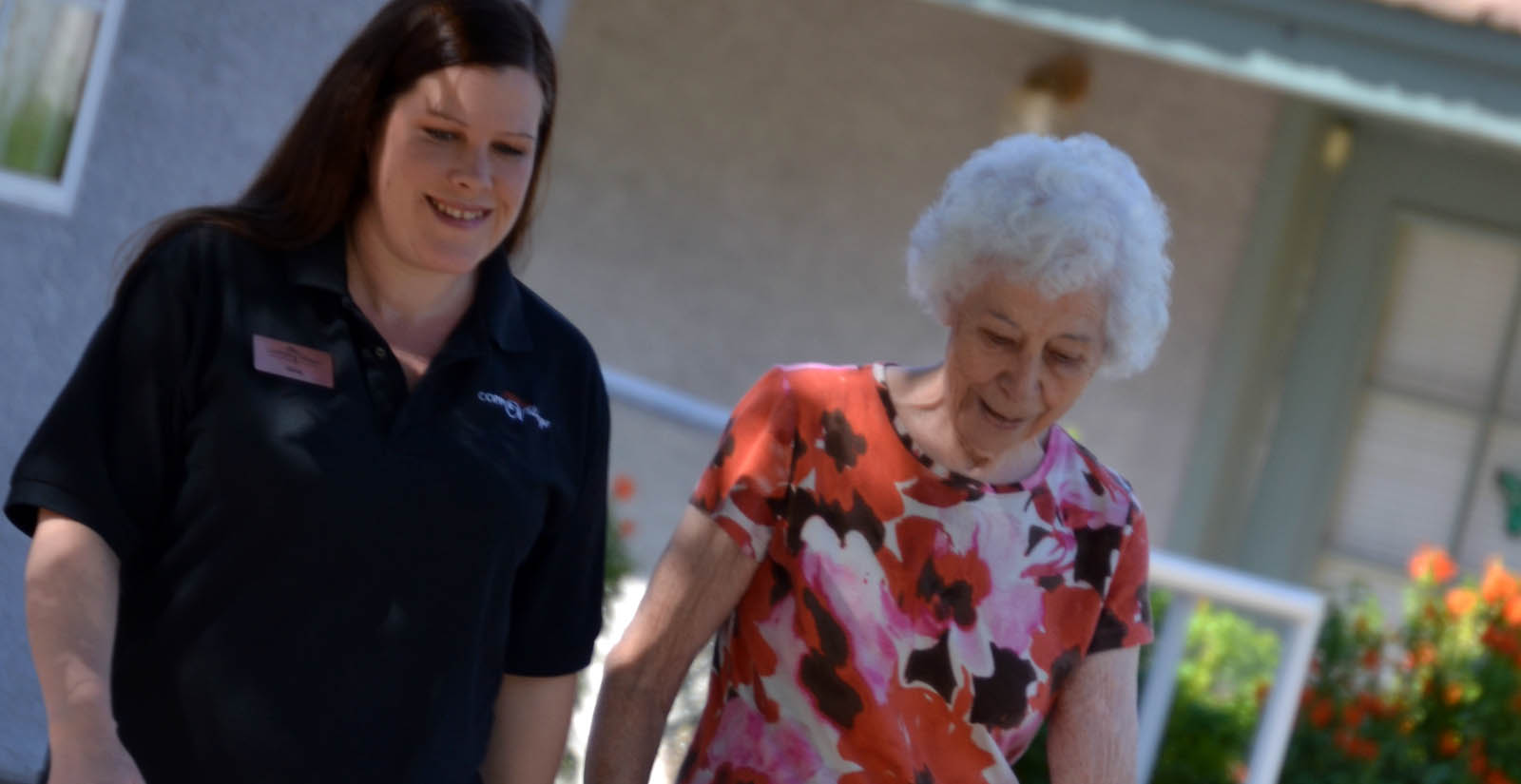 Resident and assistant at Mesa senior living