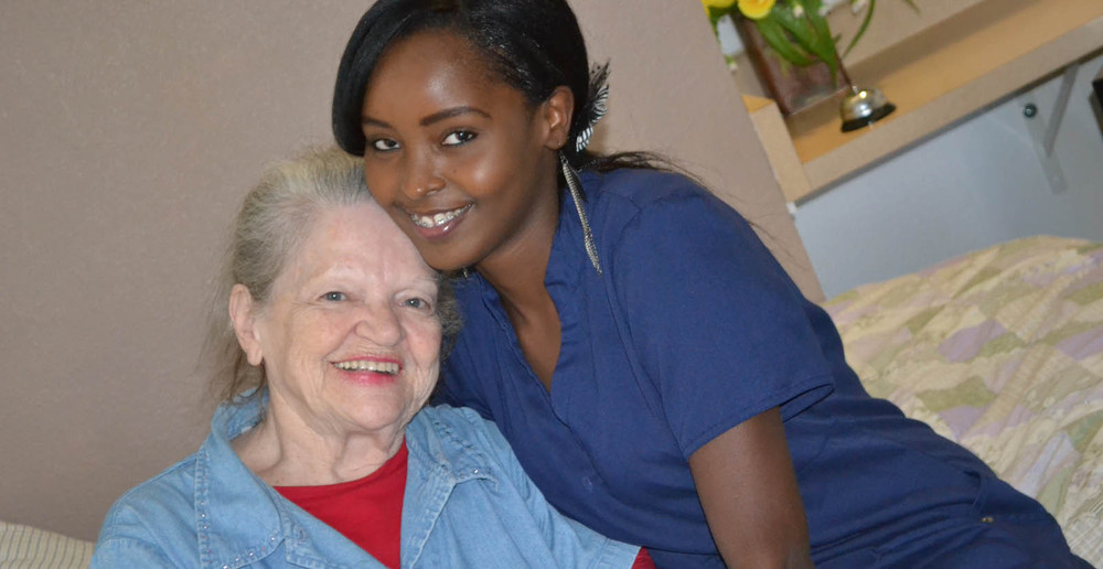Mesa senior living resident and staff member