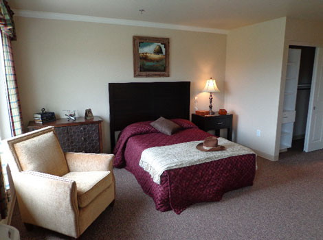 Bedroom at memory care in Springfield