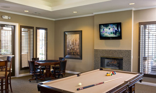 Pool table in the game room at apartments in Riverside, CA