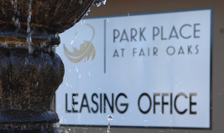 Fair Oaks apartments leasing office fountain