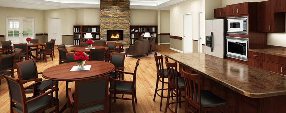 Cascadia Senior Living community dining room