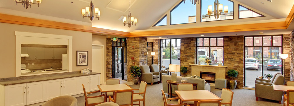 Tacoma senior living offers a fireplace
