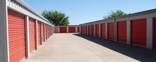Exterior orange self storage units in Waco,TX