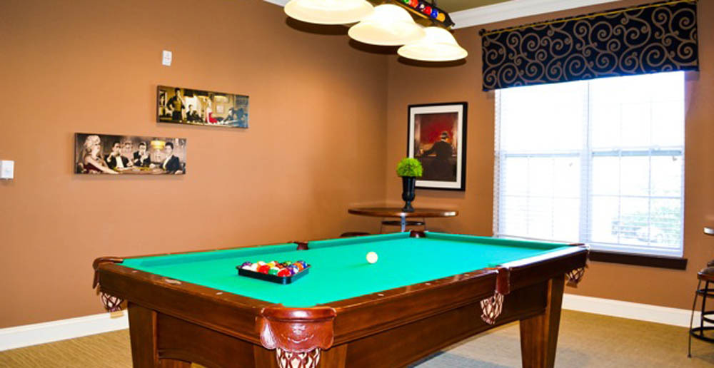 Large billiards room at apartments in fayetteville