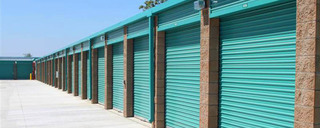 Row of self storage units in Huntington Beach