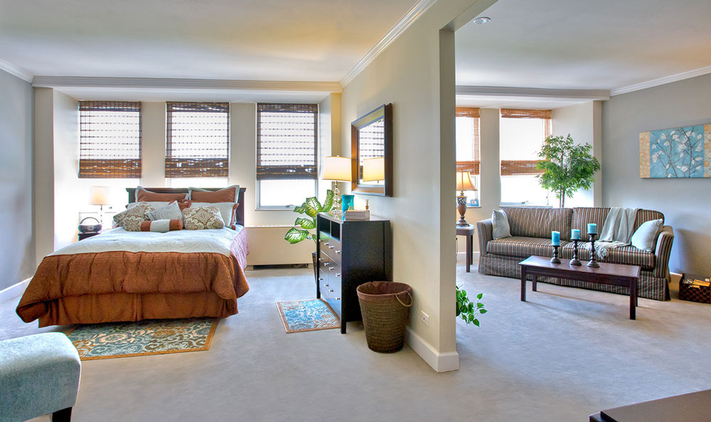 Bedroom inside Northlake senior living
