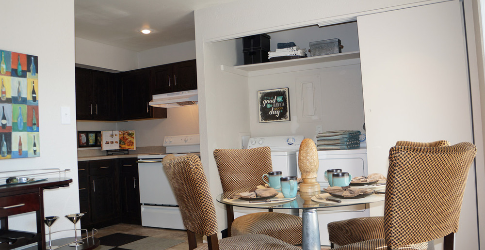 Apartments living room is open to the kitchen in Roeland park