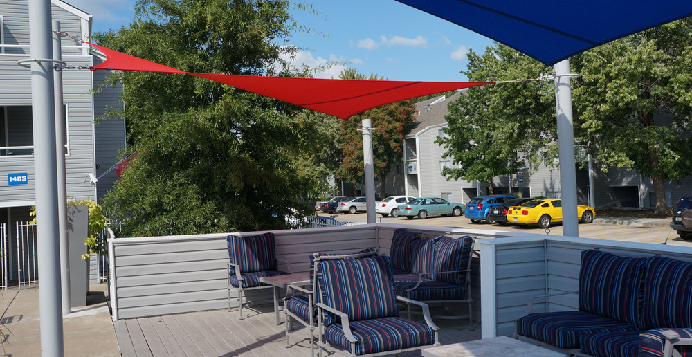 Lawrence apartments offers cabanas on their sun deck