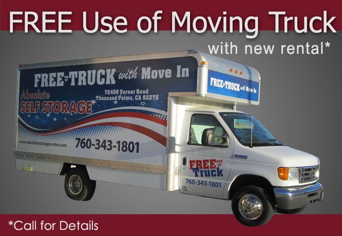Free moving truck with rental at Absolute Self Storage in Thousand Palms, CA