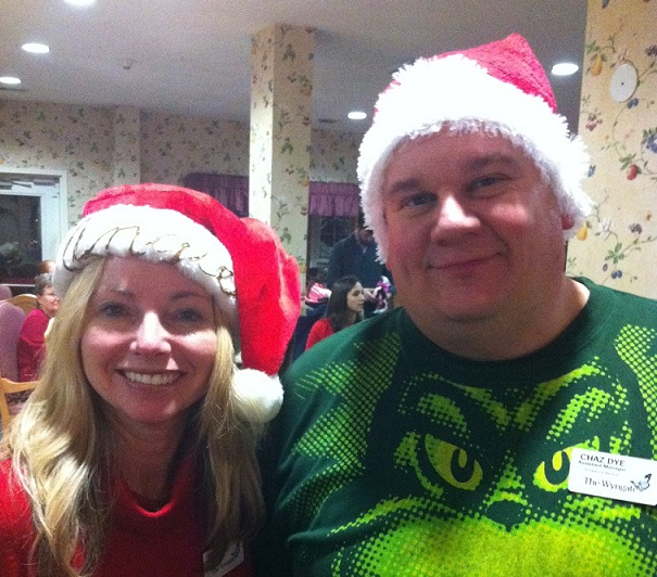 Santa angie and chaz the grinch