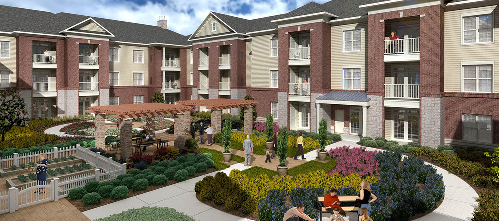 Senior living community exterior in charlotte