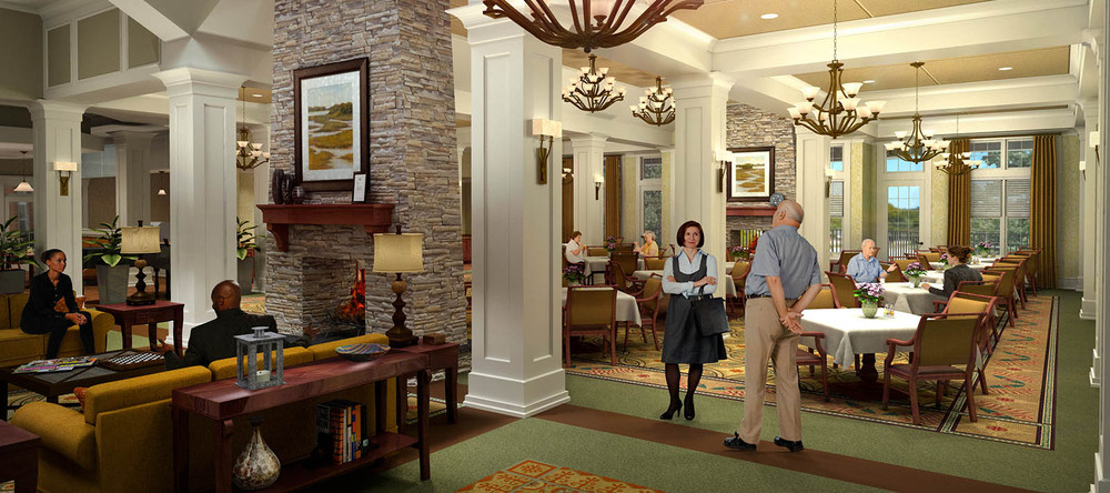 Senior living community lobby in charlotte